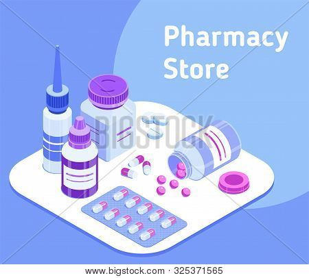 Pharmacy Store. Set Of Medical Icons. Isometric Vector Illustration For A Pharmacy Website, Applicat