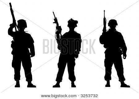 Black silhouettes of the soldiers on white background poster