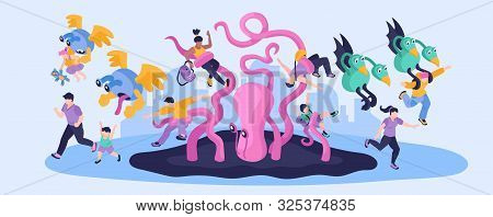 Aliens Colorful Narrow Illustration With People Running Away From Cartoon Monstrous Characters Isome
