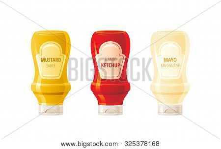 Mustard, Ketchup, Mayonnaise Sauces Bottles. Hot Sauce Set. Food Icons With Text Logo Label On Plast