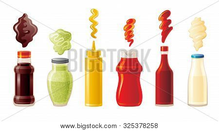 Sauce Set. Soy Wasabi Mustard Ketchup Hot Chili Mayonnaise Sauces. Food Icons, Mock Up Plastic Squee