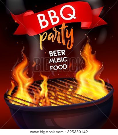 Realistic Fire Flame Bbq Grill Composition With Bbq Party Beer Music Food Headline Vector Illustrati
