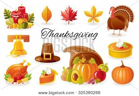 Thanksgiving Icon Set. Turkey, Pumpkin Pie, Cornucopia, Autumn Leaf, Fall Harvest Vegetables Fruits,