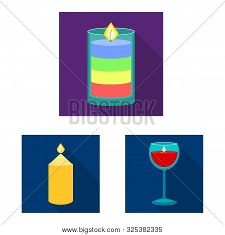 Vector Illustration Of Candlelight And Decoration Symbol. Collection Of Candlelight And Flame Vector