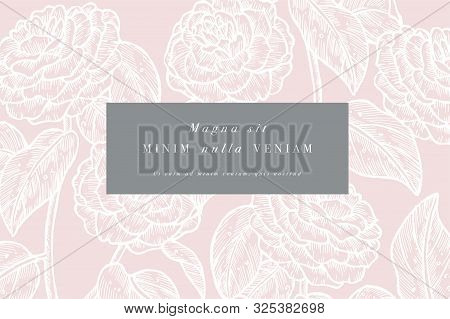 Vintage Card With Camelia Flowers. Floral Wreath. Flower Frame For Flowershop With Label Designs. Su