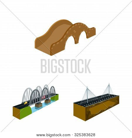Vector Design Of Bridgework And Architecture Icon. Set Of Bridgework And Structure Vector Icon For S