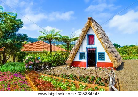 Old Traditional Houses In Santana, Madeira Island, Portugal. Wooden, Small, Triangular And Colorful