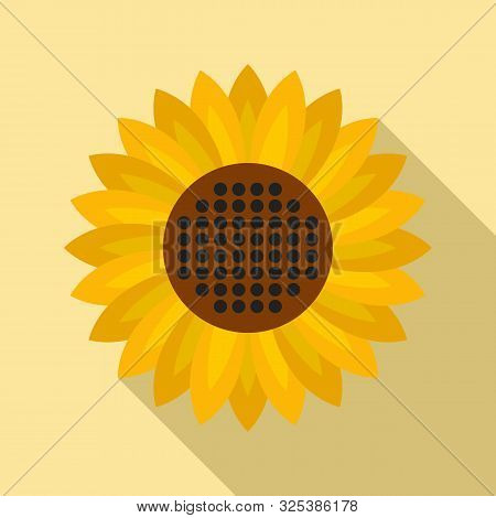 Helianthus Flower Icon. Flat Illustration Of Helianthus Flower Vector Icon For Web Design