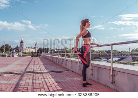 Girl Athlete, Woman Stretching Leg Knee Muscles Before Jogging Training Summer Spring City, Free Spa