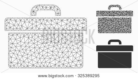 Mesh Toolbox Model With Triangle Mosaic Icon. Wire Frame Polygonal Mesh Of Toolbox. Vector Mosaic Of