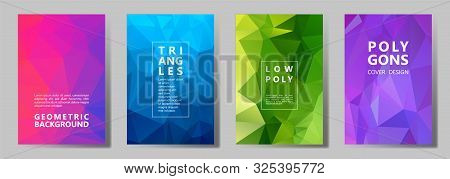 Facet Low Poly Digital Brochure Covers Vector Graphic Design Set. Crystal Texture Polygonal Patterns