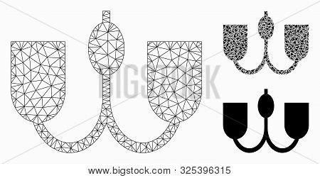 Mesh wall fixture model with triangle mosaic icon. Wire frame triangular mesh of wall fixture. Vector collage of triangle elements in different sizes, and color tints. Abstract flat mesh wall fixture, poster