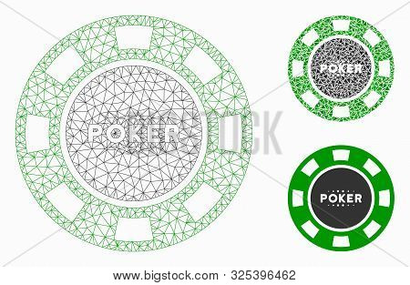 Mesh Poker Casino Chip Model With Triangle Mosaic Icon. Wire Frame Polygonal Mesh Of Poker Casino Ch