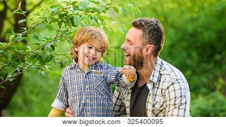 Feed Your Baby. Natural Nutrition Concept. Dad And Cute Toddler Boy Having Lunch Outdoors. Child Car