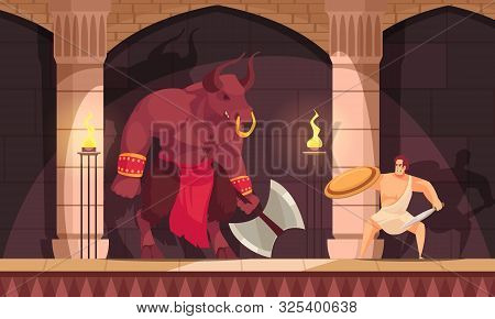 Minotaur Fabulous Mythical Creature Half Man With Bulls Head Tail Fighting With Theseus Flat Composi