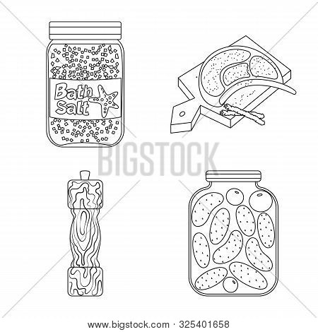 Isolated Object Of Sodium And Mineral Icon. Set Of Sodium And Kitchen Vector Icon For Stock.