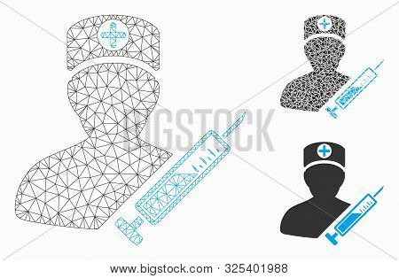 Mesh Medic Model With Triangle Mosaic Icon. Wire Frame Polygonal Mesh Of Medic. Vector Mosaic Of Tri
