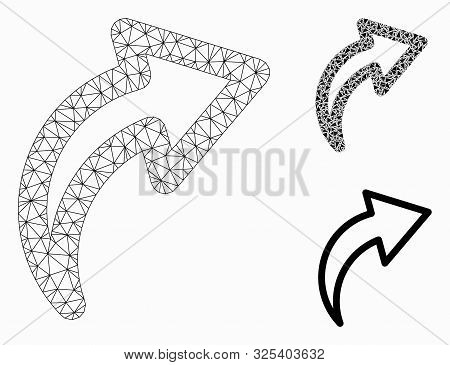 Mesh Redo Model With Triangle Mosaic Icon. Wire Frame Triangular Mesh Of Redo. Vector Collage Of Tri