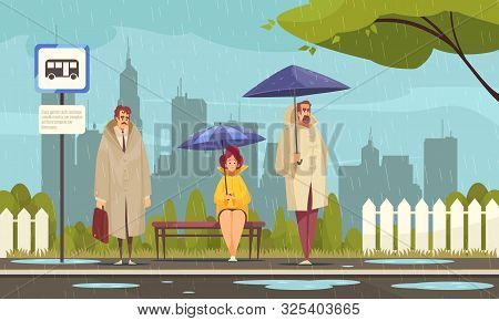 People Wearing Overcoats Waiting At Bus Stop Under Umbrellas In Rainy Weather Flat Composition Citys