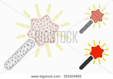 Mesh Wizard Wand Model With Triangle Mosaic Icon. Wire Frame Triangular Mesh Of Wizard Wand. Vector