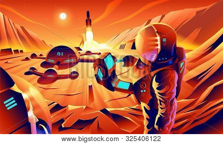 An Illustration Of Astronauts Are Exploring On The Cliff Near Their Base On Mars. Mars Colonization.