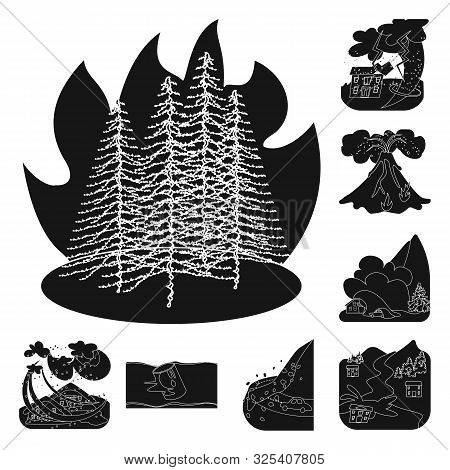 Isolated Object Of Calamity And Crash Symbol. Set Of Calamity And Disaster Stock Vector Illustration