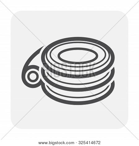 Hdpe Pipe And Connection Joint Icon Design, Black And Outline.