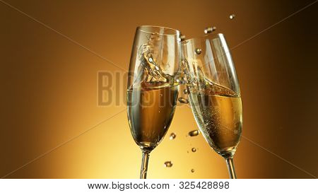 Champagne wine toast, celebration still life, New Year's Eve holiday or birthday party.