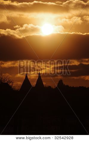 Oast houses at dusk