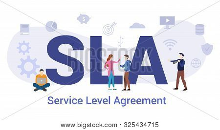 Sla Service Level Agreement Concept With Big Word Or Text And Team People With Modern Flat Style - V