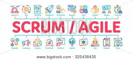 Scrum Agile Minimal Infographic Web Banner Vector. Agile Rocket And Document File, Gear And Package,