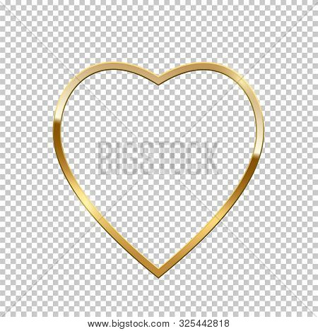 Golden Heart Shape Border Isolated On Transparent Background. Vector Golden Frame. Valentine S Day.
