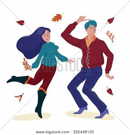 Young Man In Cardigan And Woman In Sweater Dancing Happily Together Under Falling Autumn Leaves, Fla