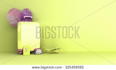 Minimal Simple Travel Background Holidays Vacation And Airplane Travel Concept On Pastel Color Backg