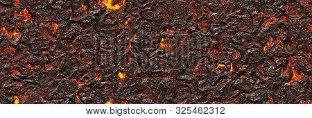 Large File Volcanoes. Background Lava- Seamless Hot Texture. Danger Terrain Heat- 3d Illustration Fl