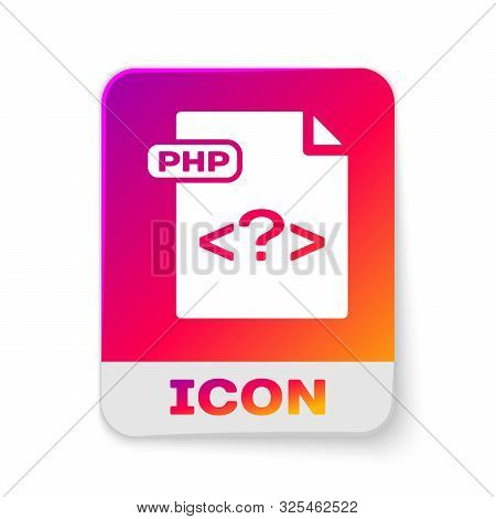 White Php File Document. Download Php Button Icon Isolated On White Background. Php File Symbol. Rec
