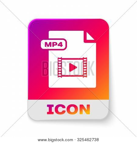 White Mp4 File Document. Download Mp4 Button Icon Isolated On White Background. Mp4 File Symbol. Rec