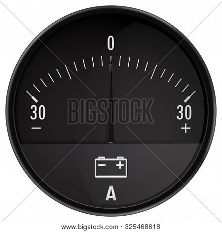 Ampermeter. Car Ammeter. Auto Accumulator Charging. Vector Isolated On White Background.