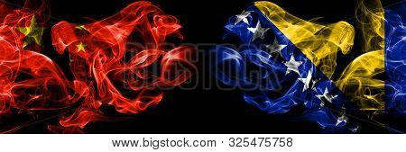 China Vs Bosnia And Herzegovina, Bosnian Smoke Flags Placed Side By Side. Thick Colored Silky Smoke