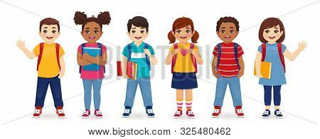 Smiling School Children Boys And Girls With Backpacks And Books Set Isolated Vector Illustration. Mu