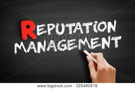 Reputation Management Text On Blackboard, Business Concept Background