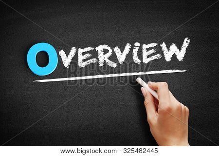 Overview Text On Blackboard, Business Concept Background