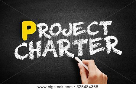 Project Charter Text On Blackboard, Business Concept Background