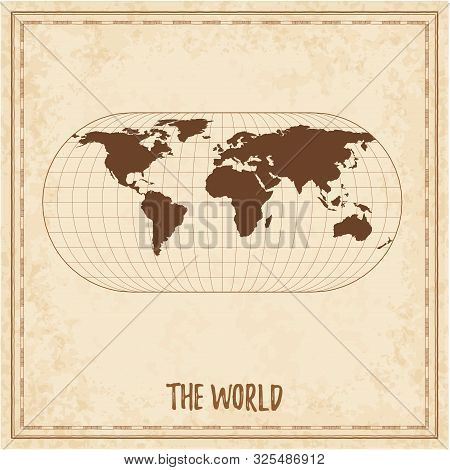 Old World Map. Eckert Iii Projection. Medieval Style Treasure Map. Ancient Land Navigation Atlas. Ve
