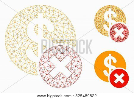Mesh Wrong Dollar Model With Triangle Mosaic Icon. Wire Carcass Polygonal Mesh Of Wrong Dollar. Vect