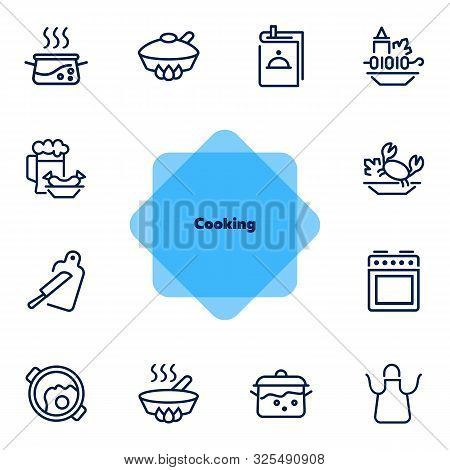 Cooking Line Icon Set. Set Of Line Icons On White Background. Kitchenware Concept. Knife, Frying Pan
