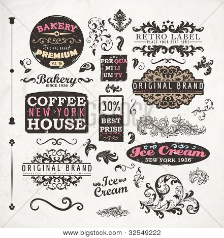 Set of vintage retro Bakery badges, Coffee House and Ice Cream labels, old page elements collection