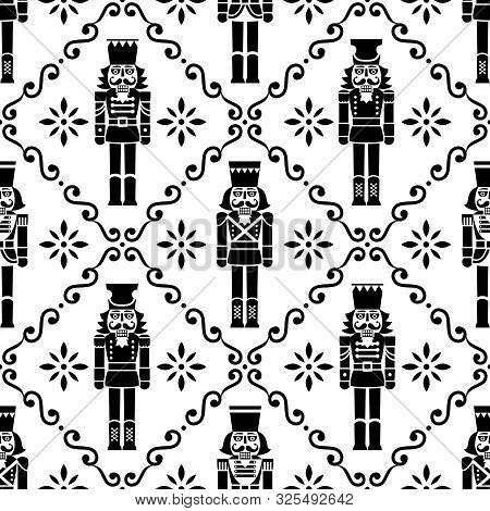 Christmas Nutcrackers Vector Seamless Pattern - Xmas Soldier Figurine Repetitive Black And White Orn