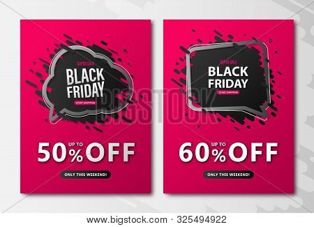 Black Friday Sale Flyers. Discount Posters With Speech Bubble And Lettering On Pink Background To Ad