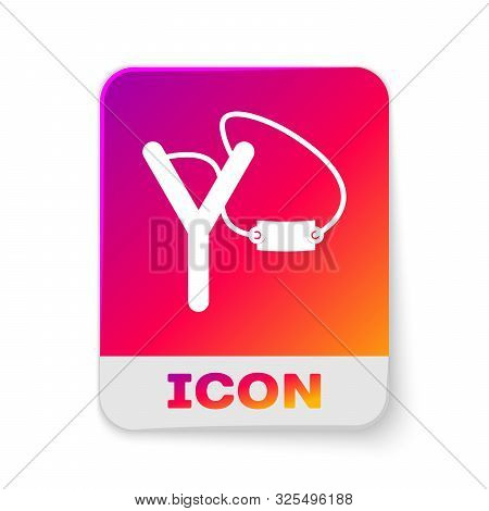 White Slingshot Icon Isolated On White Background. Rectangle Color Button. Vector Illustration
